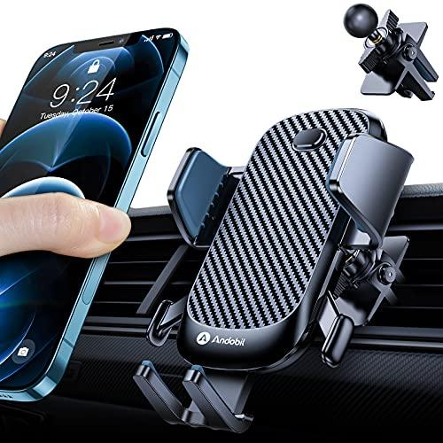 [Extrem Stabil] andobil Handyhalterung Auto Lüftung mit 2 Lüftungsclips KFZ Handyhalterung 360° Drehbar Handy Halterung Auto für iPhone/ Samsung/ Huawei/ Xiaomi/ OnePlus usw