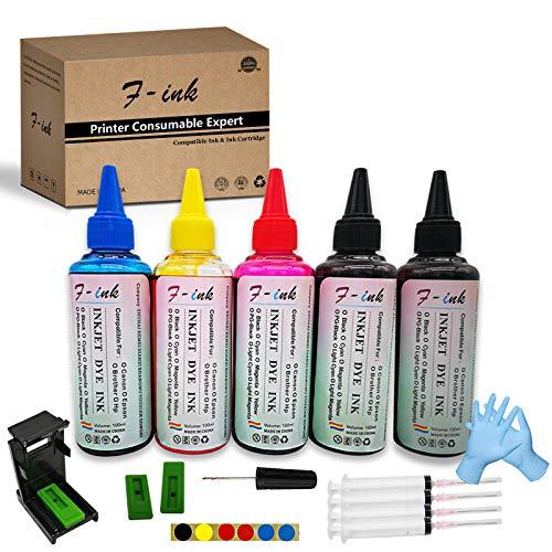 F-ink - Kit di ricarica per inchiostro e inchiostro 5 x 100 ml, compatibile con cartuccia d'inchiostro 540 541 / PG-540 CL-541 / PG-540XL CL-541XL / 540XL 541XL