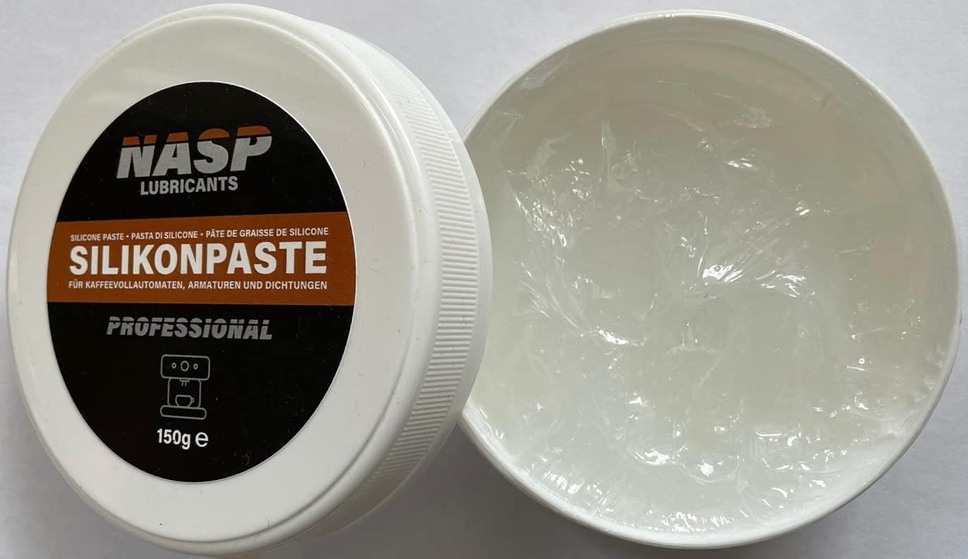 NASP Grasa de silicona profesional para cafeteras automáticas, 150 g, juntas tóricas para grifos, juntas transparentes, grasa lubricante, cafeteras, cuidado de goma