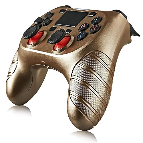 LRHD Joystick inalámbrico Bluetooth para PS4 GamePads Controller Fit Console para Playstation Dualshock 4 Gamepad para la Consola PS4 para PS4, Pro, Slim, Windows 7/8.1/10 (Negro) (Color : Oro)