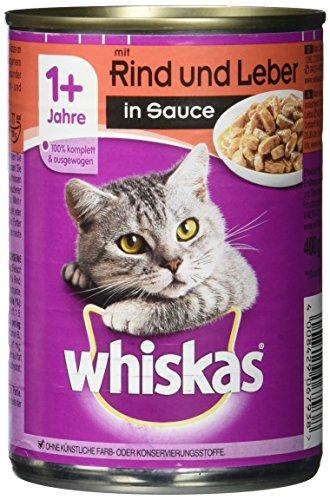 Whiskas Dose Adult 1 plus mit Rind und Leber in Sauce, 400 g