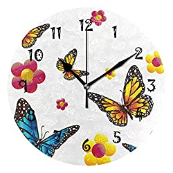 Nander 9.45 Silent Wall Clock Non-Ticking Decor Digital Wall Clock Battery Operated Easy to Read Round Wall Clock(Butterfly Flower Insect)