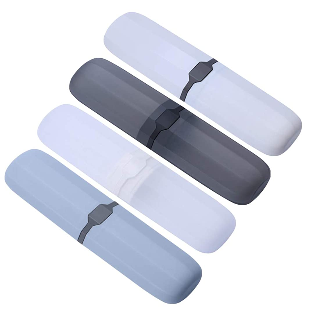 優れましたドナウ川ベースSUPVOX 4本歯ブラシホルダープラスチック歯ブラシ収納ケースオーガナイザービン