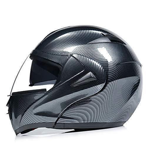 TongNS2 Casco abatible, Casco de Motocicleta, Visera Doble Modular de Cara Completa abatible, Aprobado por ECE Dot, Casco de Motocicleta Cruiser, Hombres Mujeres al Aire Libre 7,L=59-60CM