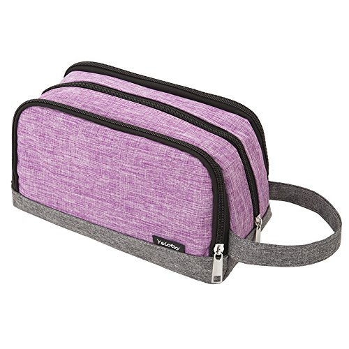 Toiletry Bag Small, Yeiotsy Color Clash Durable Travel Toiletry Kit Wash Bag for Kids Outdoor Activities (Purple)
