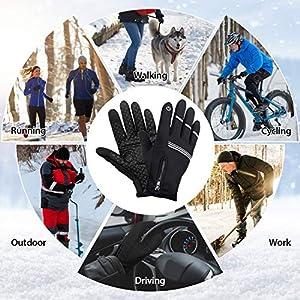 LEMEGO Guantes Ciclismo MTB Hombre Invierno Otoño, Guantes Bicicleta de Montaña Carretera Bici Moto Jardinería Running Pantalla táctil Touchscreen Antideslizante a Prueba de Viento Reflectante
