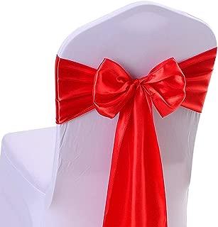 10PCS 17X275CM Satin Chair Bow Sash Wedding Reception Banquet Decoration #14 Red