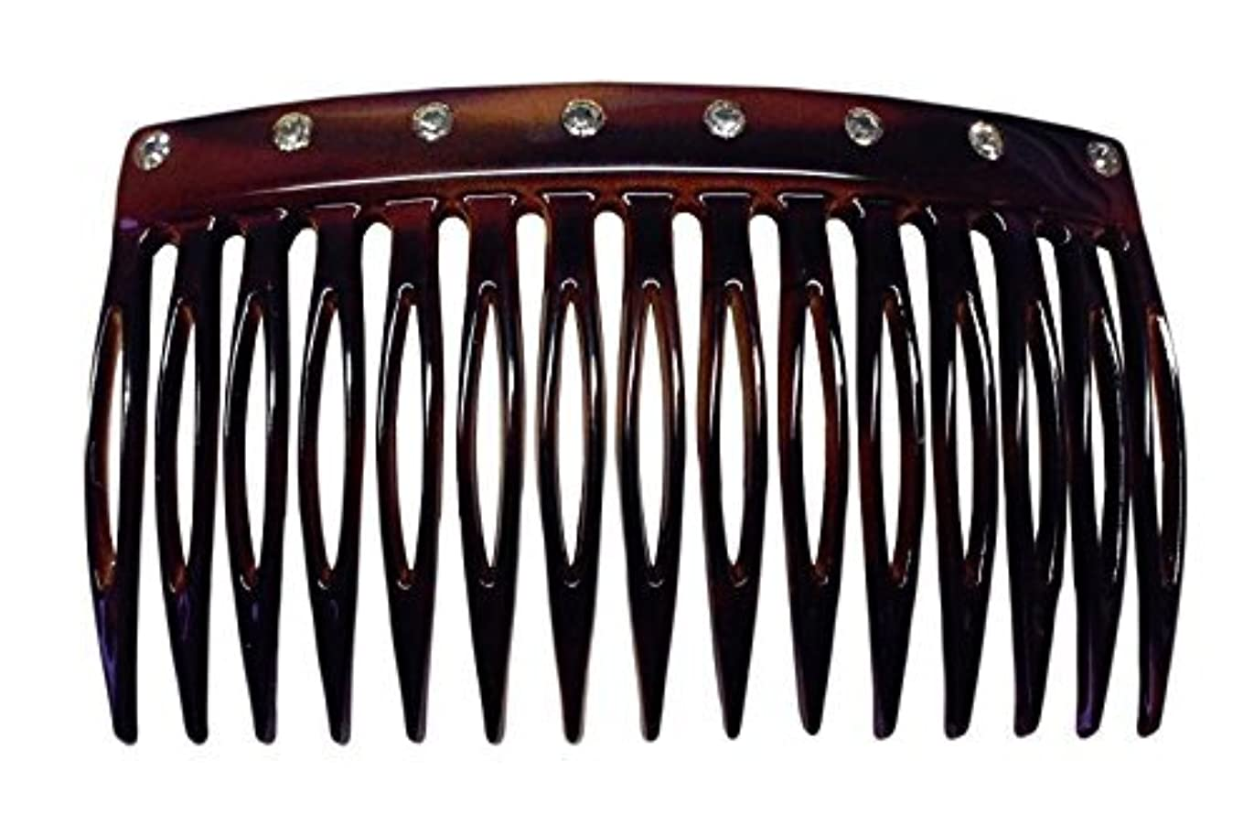 飢えもの現実的Parcelona French Crystals Celluloid Shell Hair Updo Side Comb -2 3/4 Inch [並行輸入品]