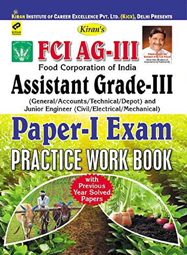 Kiran' S FCI AG-III (General/ Accounts/ Technical/ Depot) and Junior Engineer (Civil/ Electrical/ mechanical) Paper-I Exam Practice Work Book (English)(1284) (English Edition)