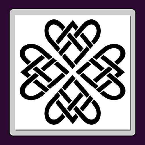 Celtic Knot Heart/Flower Pattern Stencil Template Medieval/Irish/Wiccan/Decor (Small (6 X 6 inches) Image Dimensions 5 X 5)
