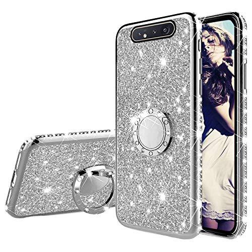 Misstars Glitzer Hülle für Galaxy A80/A90 Silber, Bling Strass Diamant Weiche TPU Silikon Handyhülle Anti-Rutsch Kratzfest Schutzhülle mit 360 Grad Ring Ständer für Samsung Galaxy A80/A90
