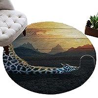 カーペット 円形 ラグマット キリン 森 動物 木の板 じゅうたん シャギーラグ 絨毯 ふわふわ マイクロファイバー 防音 滑り止め付 床暖房 ホットカーペット対応 おしゃれ 直径 122cm