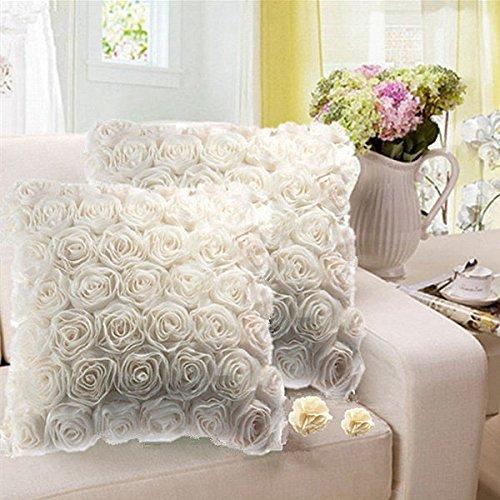 Bazaar 3D witte roos bloem satijnen kussenslopen thuis bank bruiloft vierkante kussensloop