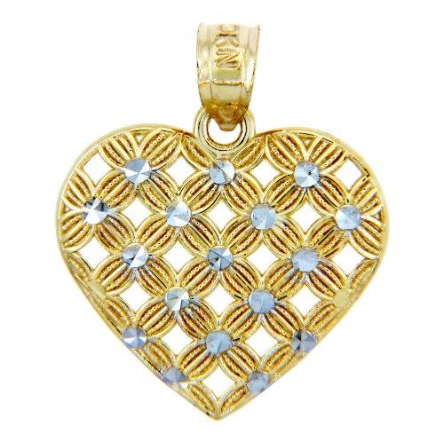 Piccoli Tesori - Collanae Pendente - - 14 ct Oro 585/1000 - Des tonnes Oro con Due Cuore Fior-