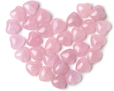 Sunligoo Natural Healing Crystal Rose Quartz Heart Love Worry Stones Set Bulk Polished Pocket Palm Thumb Gemstones Chakra Reiki Balancing - 0.6 Inches, 30 Pcs
