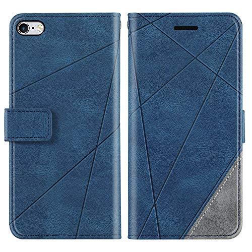 KKEIKO Funda para iPhone 6 / iPhone 6s, cartera de piel sintética, funda con tapa, bolsillo con ranura para tarjetas, carcasa de TPU antigolpes para iPhone 6 / iPhone 6S – azul