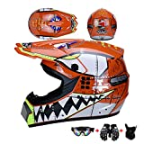 Motocross Helm Motorrad Crosshelm Kinder Off Road Helm Motorradhelm Schutzhelm Kit für ATV Downhill MTB Sicherheit Schutz mit Brille Handschuhe Maske Motorrad Netz (Weißer Hai),Orange,M