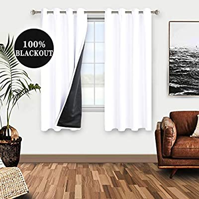 WONTEX 100% White Blackout Curtains for Bedroom - Thermal Insulated, Energy Saving and Noise Reducing Lined Window Curtain Panels for Living Room, 52 x 54 inch, Set of 2 Grommet Curtains