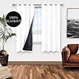 WONTEX 100% White Blackout Curtains for Bedroom 52 x 63 inch Length - Winter Thermal Insulated, Energy Saving, Sun Blocking Lined Window Curtain Panels for Living Room, Set of 2 Grommet Curtains