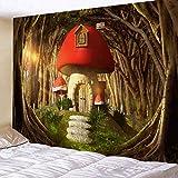 N/A Dormitorio Tapiz de Pared Tapiz de Pared para decoración del hogar Bohemio, Tapiz psicodélico para decoración de habitación, Tapiz de Pared de Seta Enorme, casa de Hadas