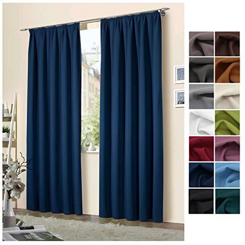 heimtexland, 1 coppia di tende oscuranti termiche, con nastro per arricciare la tenda, modello 139, Poliestere, Blu scuro, AxL 245 x 135 cm