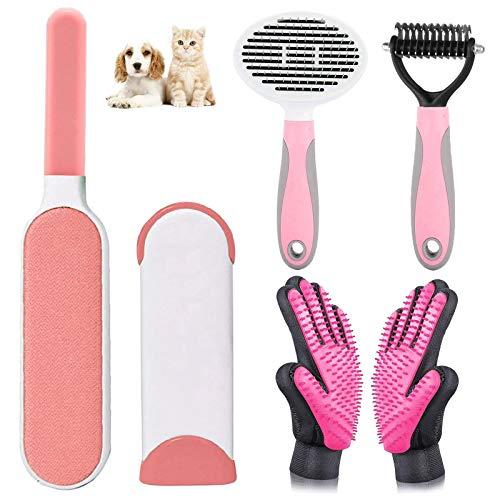 uksunvi Removedor de Pelo para Mascotas Cepillo Guantes Herramienta Removedor de Pelo para Mascotas Juego de 4 Piezas 2021 Traje de Cepillo removedor de Pelo para Mascotas Mejorado (Rosa)