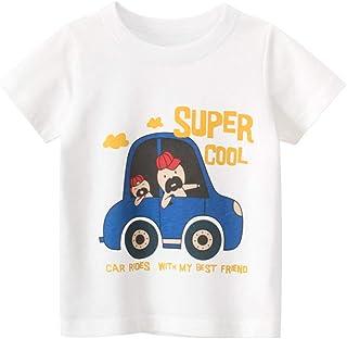 TABNIX Boys' Vehicle Short Sleeve Crewneck T-Shirts Top Tee Size 2-7 Years Toddler Boys' Value Pack Cotton T-Shirt
