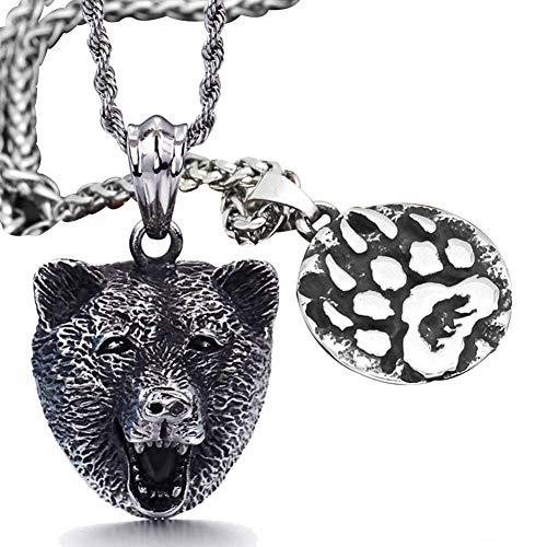BBYaki Viking Schmuck Set, Edelstahl Bärenkopf & Bärentatze Halskette für Frauen Männer Amulett