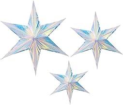 ABOOFAN 3Pcs Rainbow Star Brilho Folha Hexágono Iridescente Estrela Ornamento de Suspensão Decoração de Aniversário de Dec...