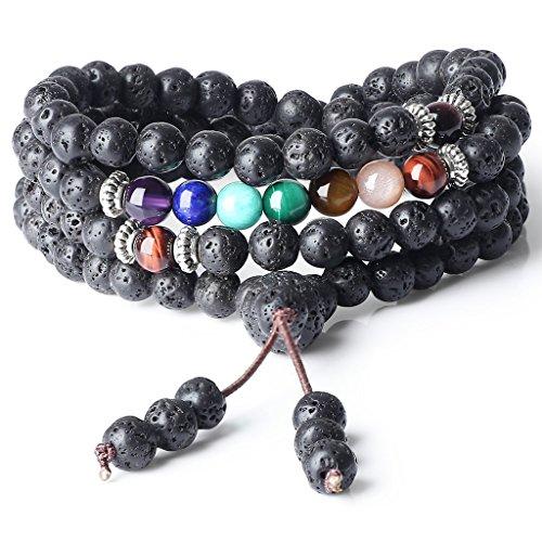 coai Geschenkideen Unisex 108 Mala aus 7 Chakra und Lavastein Yoga Armband Buddhische Halskette