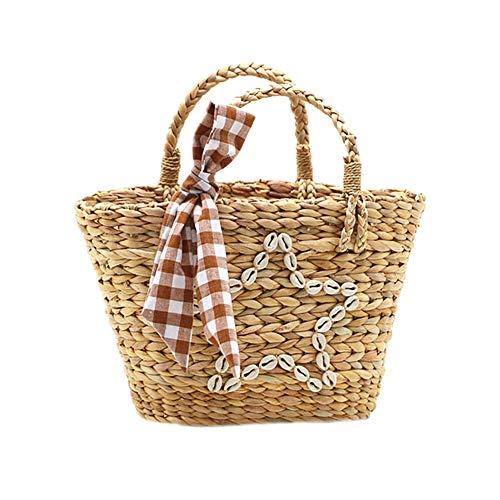 Demarkt Korbtasche Einkaufstasche Flechttasche Strandtasche Seegrastasche Shell Pentagramm Stroh Strand Tasche