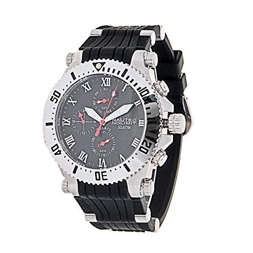 Nautec No Limit Herren Multi Zifferblatt Quarz Uhr mit PU Armband STKG2-QZ-RB-STST-BK