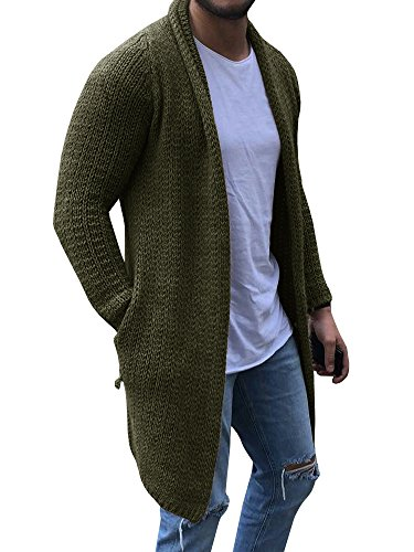 Mens Cardigan Sweaters Long Sleeve Knit Open Front Cardigans with Pocket Green