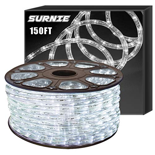 SURNIE Led Rope Lights Outdoor 150ft Round Waterproof Daylight White Rope Lighting 110V Flexible Cuttable Light Strip Backyards Garden Patio Bedroom Indoor Outdoor Decoration