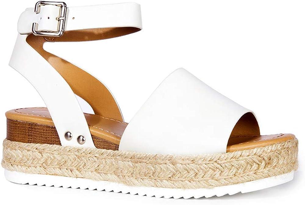 J. Adams Blair Espadrille Sandal - Straw Platform Open Toe Ankle Strap Sandals