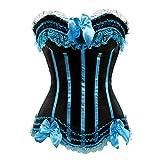 Kranchungel Damen Burlesque Vollbrust Satin Korsett Dessous Corsage Gothic Kostüme 4X-Large...