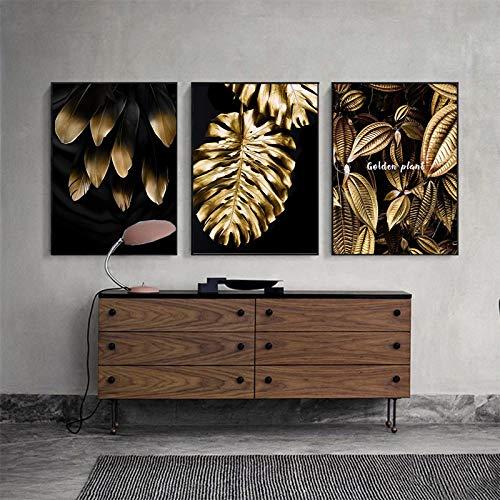 Lienzo impreso abstracto de hoja dorada flor negro blanco plumas arte de la pared de la pintura del cartel de la pared para la decoración de la sala de estar - 50x70 3pcs sin marco
