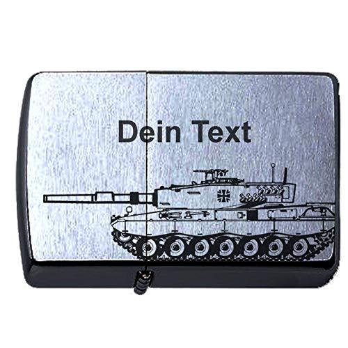 elbedruck Bundeswehr Leopard 2 Panzer Lasergravur Personalisieren Compatible with Zippo Dein Text personalisiert, Tank Deutsches Heer