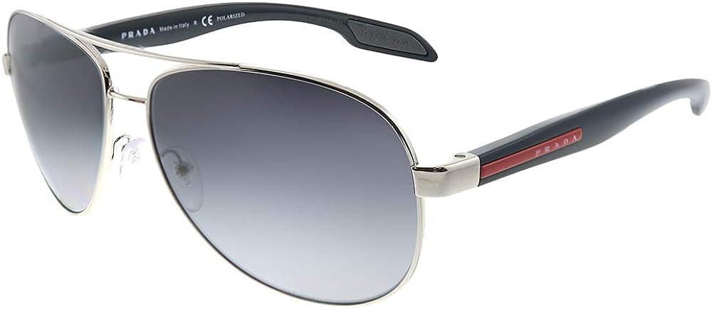 Prada Linea Rossa PS53PS - 1BC5W1 Sunglasses Steel w/ Grey Gradient Polarized 62mm