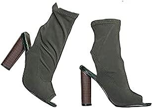 J. Adams High Heel Peep Toe Slip-On Bootie – Trendy Ankle Cutout Scuba Boot – Women's Stacked Heel Open Toe –Lyla