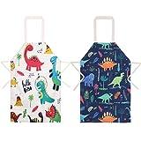 umorismo, 2 confezioni di grembiule da cucina a forma di dinosauro, regolabile, per bambini, con tasca, impermeabile, da cucina, per forno, giardino, ristorante, barbecue