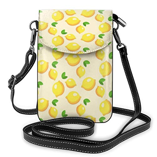 Lawenp Yellow Lemon Crossbody Phone Purse Small Mini Shoulder Bag Cell Phone Pouch Leather Wallet For Women Girls