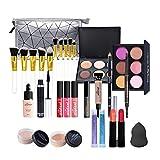 Bonbela Juego completo de maquillaje de 29 piezas, todo en uno, kit de maquillaje completo para principiantes, con sombra de ojos, lápiz labial, juego de cosméticos para niñas y mujeres