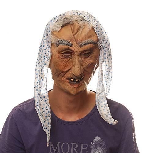 Careta De Bruja Máscara de Halloween de Látex Máscara de Terror de Miedo Carnaval Fiestas Trajes Careta de Demonio de Miedo con Cabellos Adulto para Halloween la Fiesta de Disfraces la Navidad