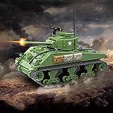 TopBau Técnica WW2 - Tanque militar con 4 minifiguras, 726 piezas Sherman M4A1 V12, bloques de construcción compatibles con Lego Cobi Technic