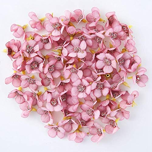 50pcs 2cm Daisy Flower Head Mini Silk Artificial Flowers For Home Wedding Decoration DIY Garland Headdress Fake Flowers Decor - Deep Pink