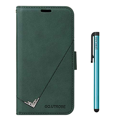 JAWCASA Compatible with Huawei Mate 20 Pro, Premium Wallet Case PU Leather Bracket Function Flip Magnetic [Border Embossed Design] Shockproof Interior Card Slots Protection Case (Green)