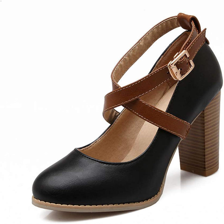 Ai Ya-liangxie Neue Frühling Herbst Big Größe 34-43 Elegante Frauen Frauen Frauen Knöchelriemen Pumpen Flachen Super High Heels Schuhe Frau Chunky  dbdb39