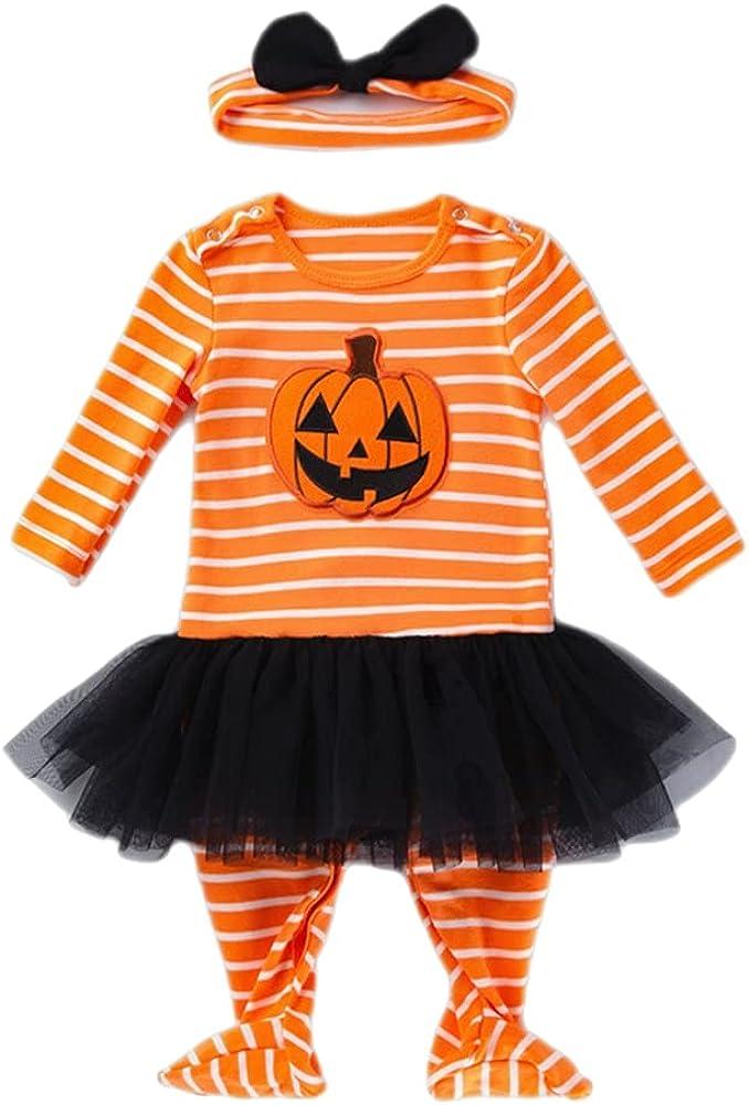 TMOYJPX Disfraces Niña Halloween Disfraz Mono Niño 0-24 Meses Navidad Invierno, Conjunto Ropa Bebe Unisex, Peleles Mameluco de Vestido Falda+ Banda de Pelo