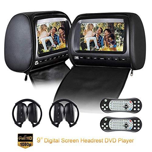 Roboraty Auto Hoofdsteun Video Spelers Met 9 Inch DVD Monitor, Dual Region Gratis Dvd Speler Voor Auto Ondersteuning Usb SD IR Fm Transmitter, AV In/out,2 stks IR Hoofdtelefoon Zwart